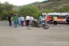 ДТП на автодороге Вайк-Сараван: мотоцикл перевернулся