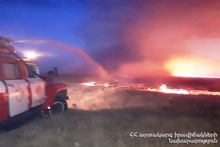В городе Егвард сгорело около 45 га травяного участка