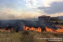 Возле села Нжде сгорело около 10 га травяного участка