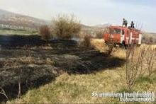 Fire in Saghmosavan village: about 10 ha of grass cover was burnt