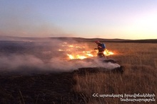 About 200 ha of grassland was burnt