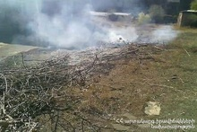 In Jrashen village bales of hay was burnt