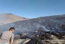 В селе Джаджур сгорело около 40 га травяного покрова