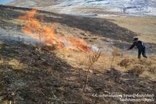 40 ha of grass cover was burnt on the mountain near Krashen village