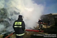 3000 bales of hay were burnt in the yard of a house