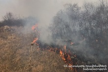 Grass cover was burnt near the urban cemetery of Vanadzor town