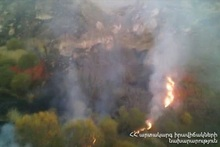 The fire caught on Goris-Sisian section of M-2 highway leading towards Ishkhanasar mountain was self-extinguished