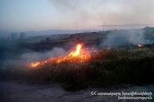 About 6000 square meters of grass cover were burnt