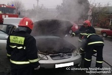 The engine part of a car was completely burnt