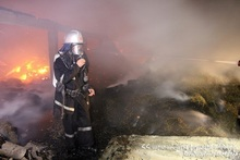 Bales of hay in Novoseltsovo Village burnt