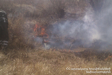 About 100 ha of grass area burnt