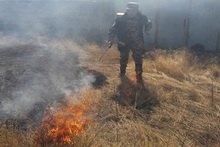 Firefighters extinguished fire broken out in grasslands with a total area of about 1.8 ha