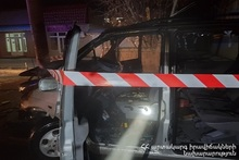 RTA in Gyumri town: car crashed into the pole and caught a fire