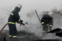 The wooden constructions of the roof of the barn were burnt: there were no casualties