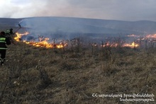 About 10 ha of grass cover were burnt