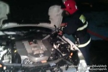 Fire in the engine part of the car: there were no casualties