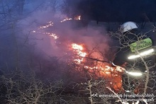 """500 square meters grass cover was burnt in the field called """"Shlorkut'' of Dilijan town"""