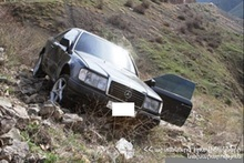 Car ran off the roadway, appeared in the gorge and overturned onto its side