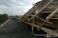 Roof of the building was damaged from strong wind