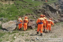 Rescuers implemented artificial rock-fall activities