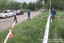 Rescuers blocked off the scene