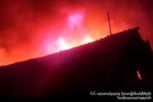 Roof of a garage burnt