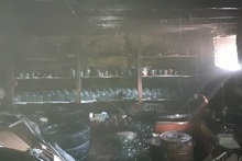 Wooden ceiling and household items burnt