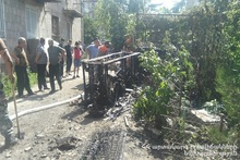Wooden lodge burnt in Azatamut village