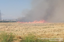 About 20 hectares of harvested wheat field burnt