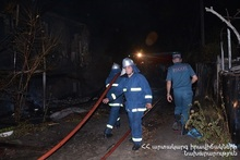 Fire in two-story residential building of Ptghunk village was extinguished: The Minister of Emergency Situations was at the scene