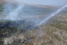 Firefighters extinguished fires broken out in the area of about 9400 square meters in total