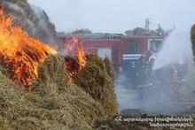 Bales of hay burnt in Gugark village