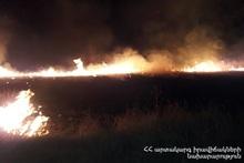 Сгорело около 65 га травяного покрова