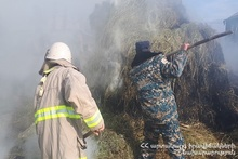 About 350 bales of hay burnt