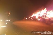 В селе Баграван сгорели тюки сена