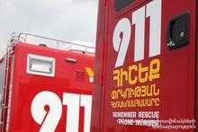 Fire on Yerevan-Sevan roadway