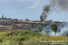 About 10 ha of grassland burnt